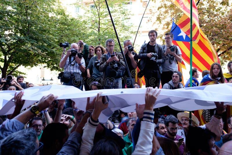 Независимость Каталония 20/09/2017 демонстрации стоковые изображения