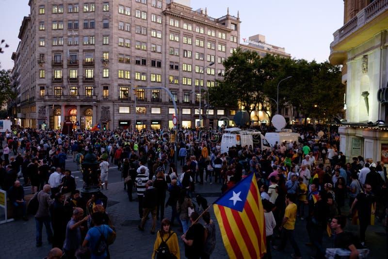 Независимость Каталония 20/09/2017 демонстрации стоковые изображения rf