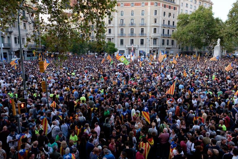 Независимость Каталония 20/09/2017 демонстрации стоковое фото