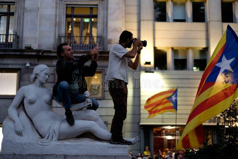 Независимость Каталония 20/09/2017 демонстрации стоковые фото