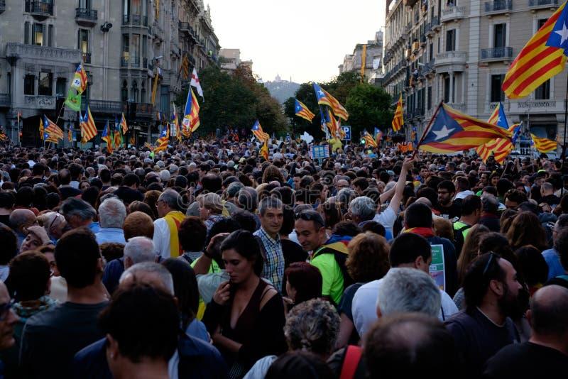 Независимость Каталония 20/09/2017 демонстрации стоковое изображение rf