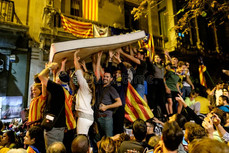 Независимость Каталония 20/09/2017 демонстрации стоковая фотография