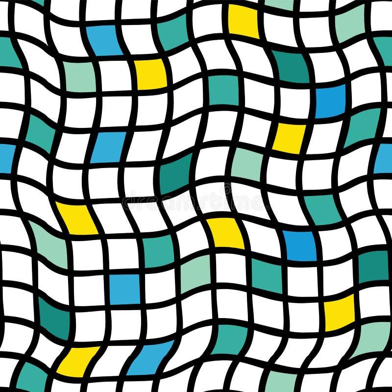 Незаконные handdrawn шотландки вектор картины безшовный Черная решетка с желтым, голубым, зеленым, и известкой покрасила квадраты иллюстрация штока