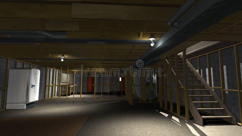Незаконченная иллюстрация подвала, Remodeling дома иллюстрация вектора
