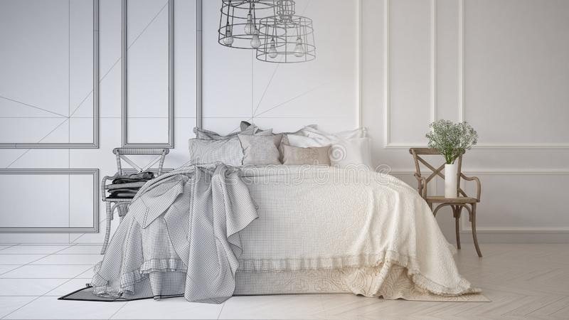 Незаконченный проект проекта винтажной классической спальни с мягкой кроватью вполне подушек и одеял, белой отлитой в форму стены иллюстрация штока