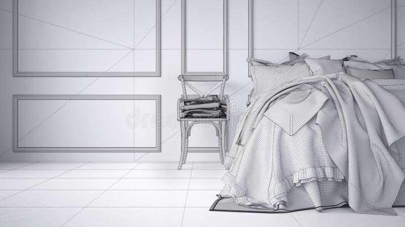 Незаконченный проект проекта винтажной классической спальни с мягкой кроватью вполне подушек и одеял, белой отлитой в форму стены иллюстрация вектора