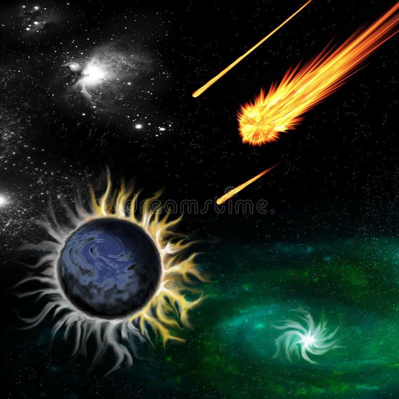 Неизвестная планета в удаленной галактике перед катастрофой иллюстрация вектора