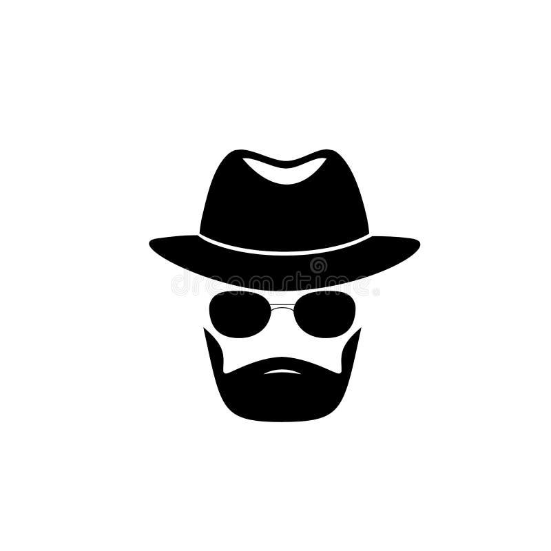 Неизвестный бородатый человек в шляпе и черных стеклах Инкогнито Секретный Шпион иллюстрация вектора