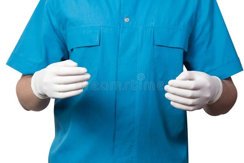 Неизвестный мужской доктор хирурга в белых перчатках стоковые фотографии rf