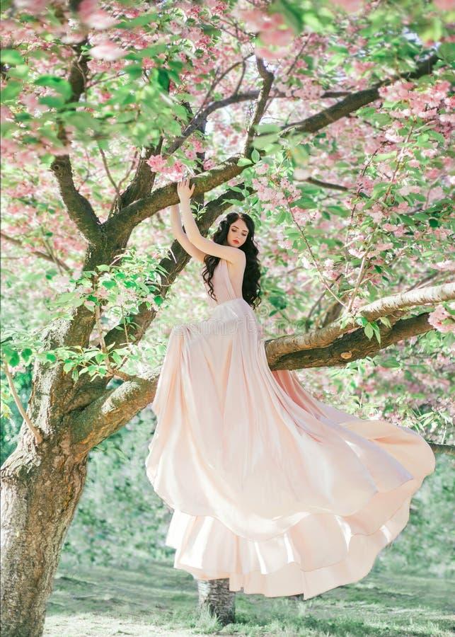 Неимоверный, нежный эльф в роскошном, нежно украшает дырочками платье которое порхает в ветре Принцесса с длинным вьющиеся волосы стоковые фото