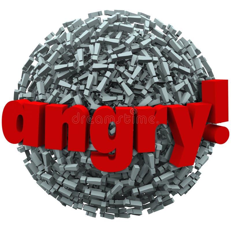 Неистовство эмоции сердитых восклицательных знаков слова сумашедший иллюстрация штока