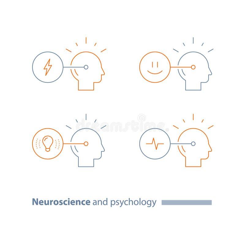 Нейронаука и психология, эмоциональный разум, косая концепция, сопереживание, познавательные искусства, творческий думать, положи иллюстрация вектора