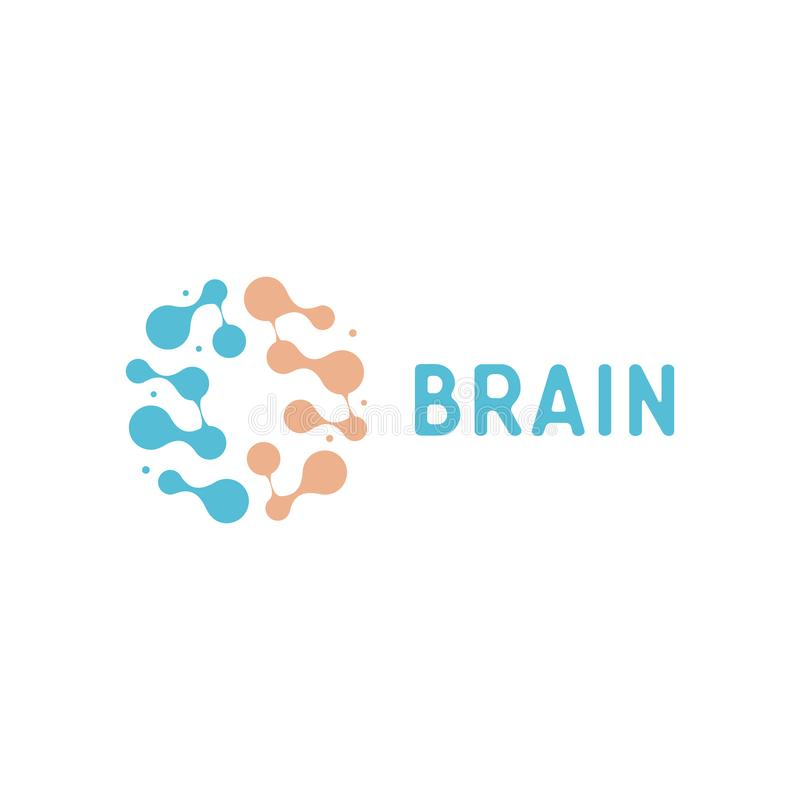 Нейроны и значок symapses Соединения человеческого мозга Нервная система, атлас памяти, минимальный логотип вектора дизайна иллюстрация вектора