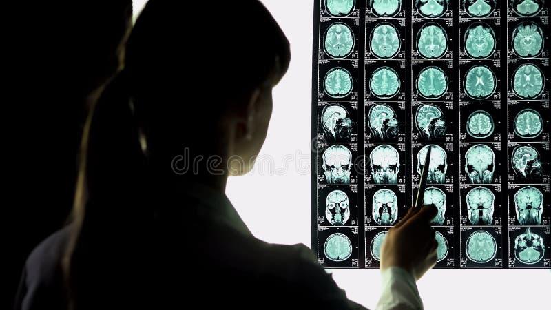 Нейрохирург анализируя рентгеновский снимок мозга, проблемы кровеносных сосудов, неизлечимую болезнь стоковое изображение rf
