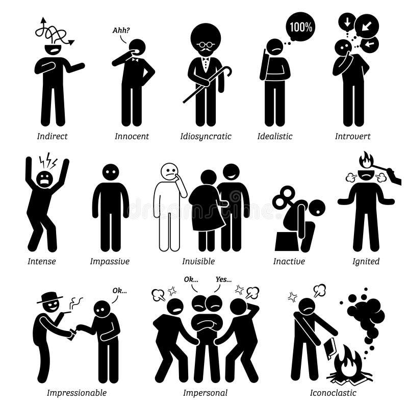 Нейтральные черты характера Clipart личностей иллюстрация штока