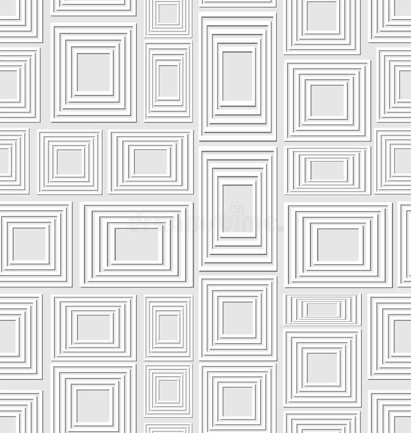 Нейтральный низкий уровень сравнивая безшовную предпосылку составленную света выбил квадраты и прямоугольники, абстрактную плитку иллюстрация вектора