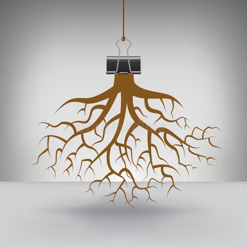 Некоторые корни повешенные зажимом связывателя иллюстрация вектора