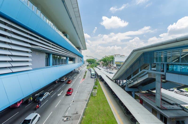 Некоторые мосты связи соединяют торговый центр отдыха Cheras и торговый центр Eko Cheras сразу со станцией MRT Taman Mutiara стоковые фотографии rf
