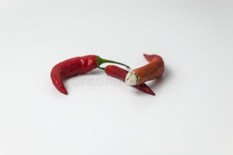 Некрасивый накаленный докрасна перец чилей с прессформой стоковое изображение