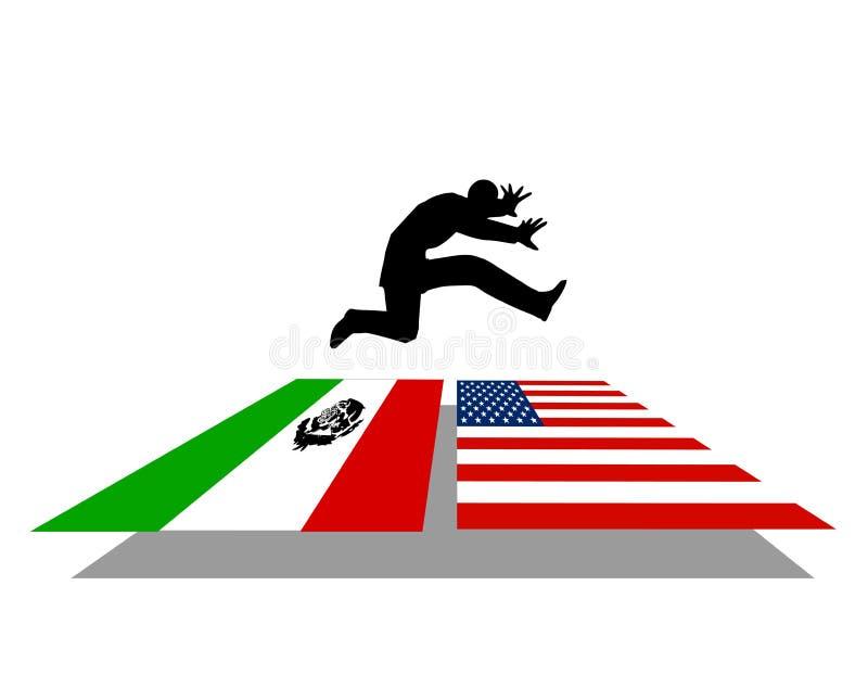нелегальная иммиграция 2 границ иллюстрация вектора