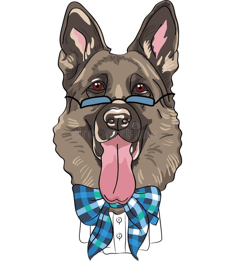 Немецкая овчарка собаки битника шаржа вектора смешная бесплатная иллюстрация