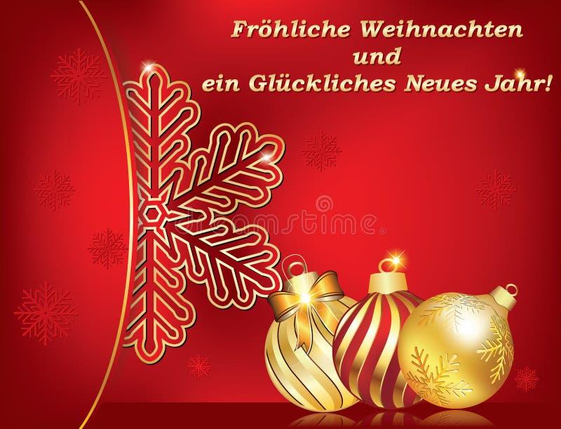 Немецкая поздравительная открытка на зимний отдых иллюстрация вектора