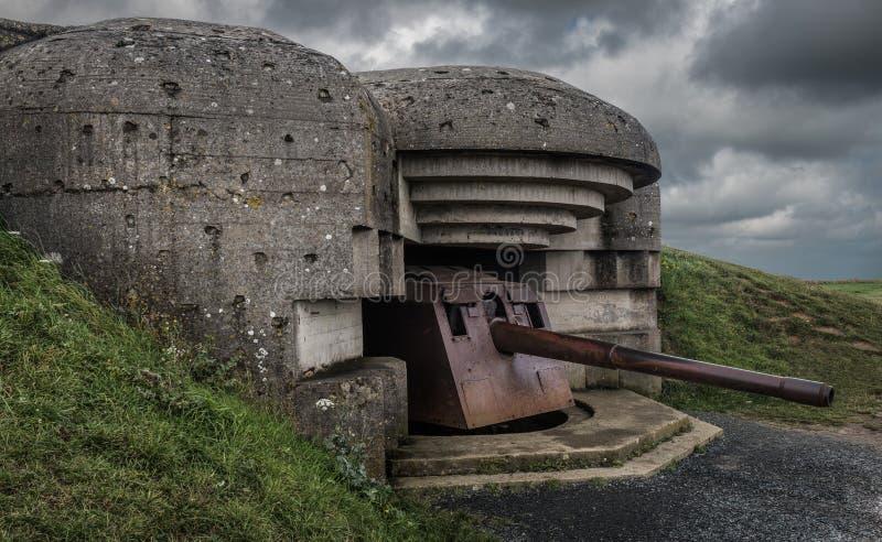 Немецкая пушечная батарея Longues-sur-Mer стоковое изображение rf