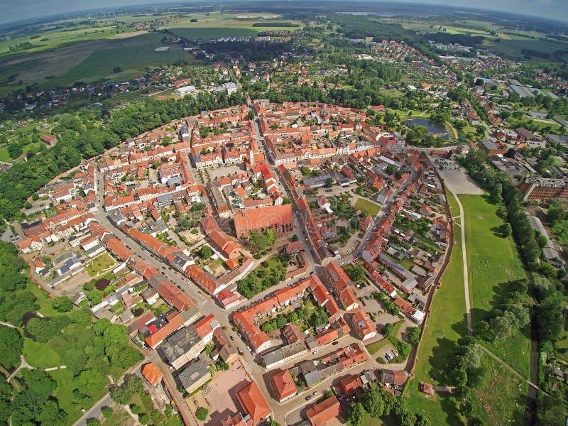Немецкая форма города Wittstock/Dosse воздух стоковые фотографии rf
