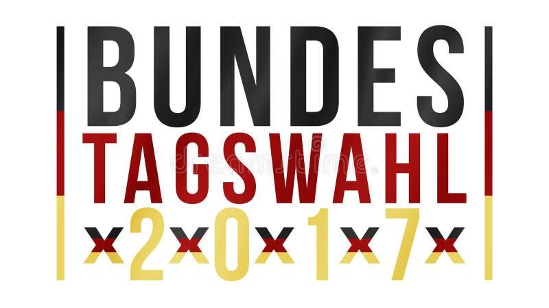 Немецкие слова на федеральное избрание 2017 в черном красном золоте стоковые изображения rf
