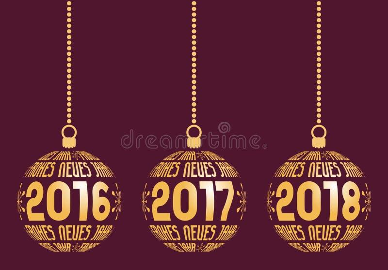 Немецкие элементы Нового Года на леты 2016-2018 иллюстрация штока