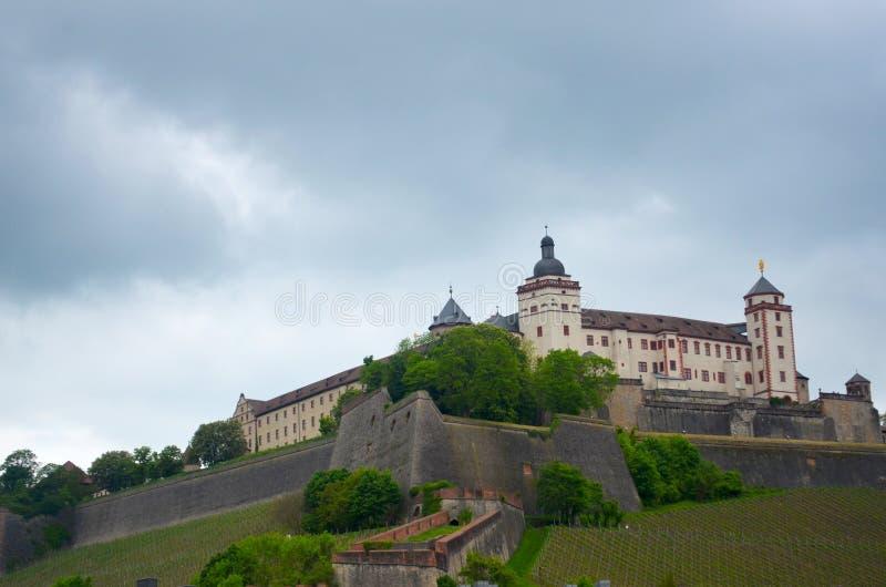 Немецкий замок увиденный против неба overcast стоковые изображения