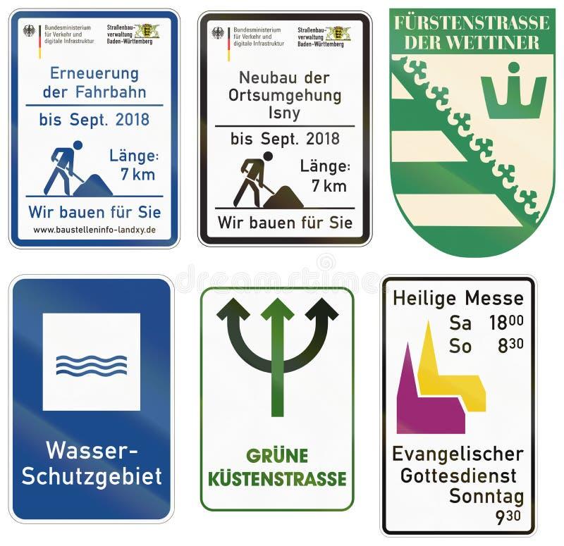 Немецкий знак данным по строительной площадки - реновация поверхности до septemter 2018 - длина 8 km - мы строим для вас иллюстрация вектора