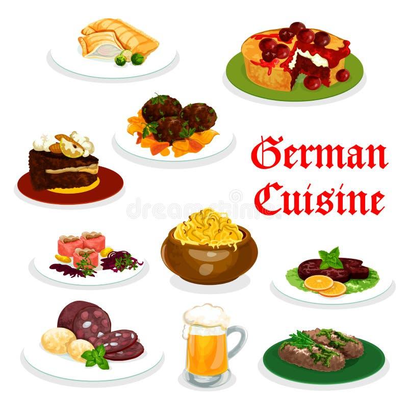 Немецкий значок обедающего кухни с традиционной едой иллюстрация вектора