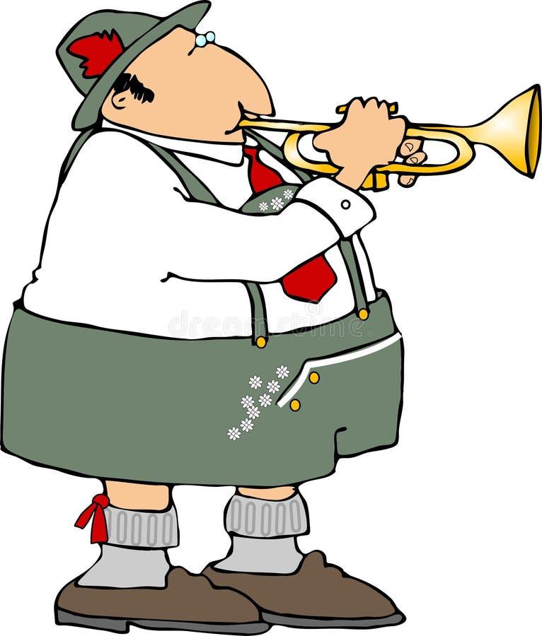 немецкий trumpet игрока иллюстрация штока