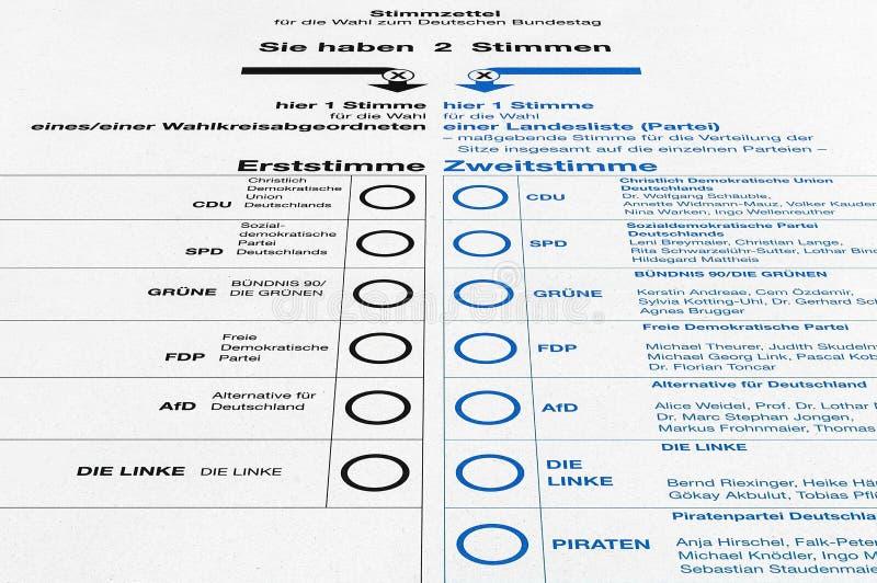 Немецкое избрание - карточка избирательного бюллетеня стоковая фотография rf