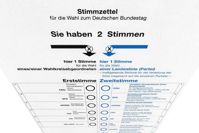 Немецкое избрание - карточка избирательного бюллетеня иллюстрация штока
