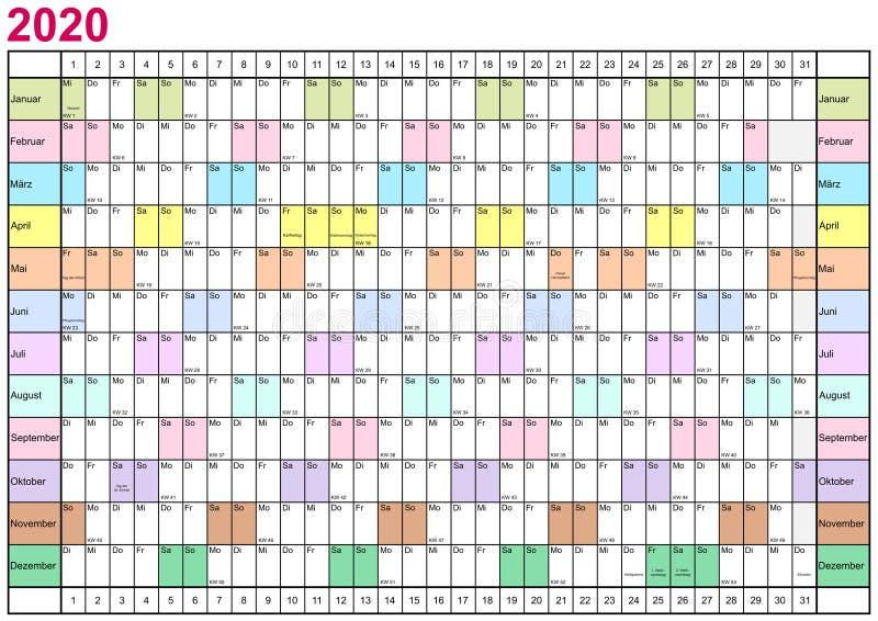 Немец плановика 2020 года линейный в других цветах иллюстрация штока