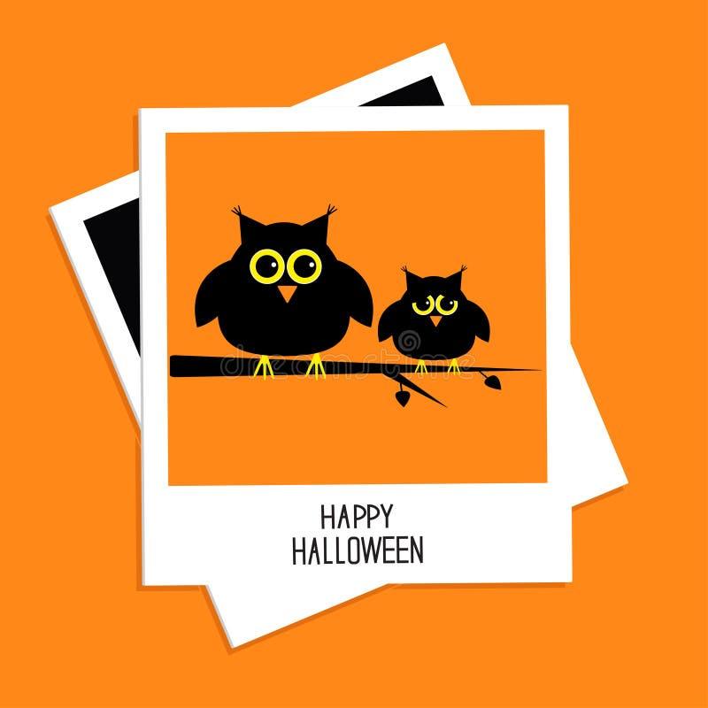 Немедленное фото с милыми сычами карточка halloween счастливый бесплатная иллюстрация
