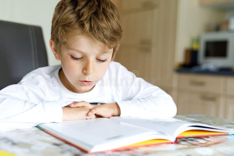 Немногое белокурый мальчик ребенк школы читая книгу дома стоковое фото rf