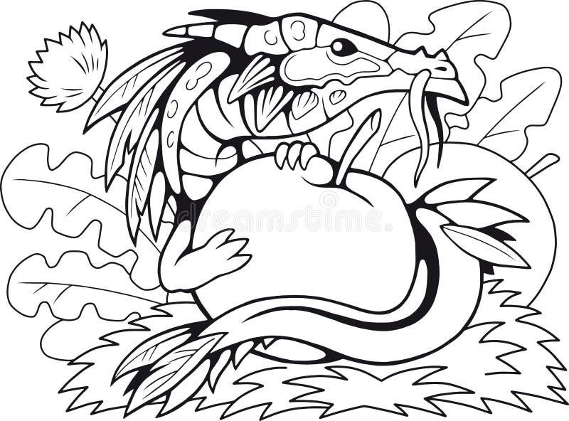 Немногое дракон яблока, книжка-раскраска, смешная иллюстрация иллюстрация штока