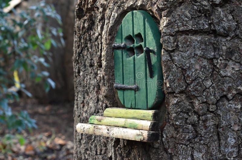 Немногое зеленая дверь феи/pixie в стволе дерева стоковая фотография rf