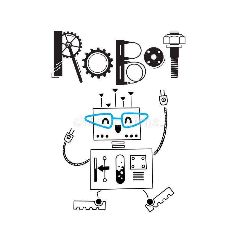 Немногое милый робот и надпись деталей и шестерней также вектор иллюстрации притяжки corel иллюстрация вектора