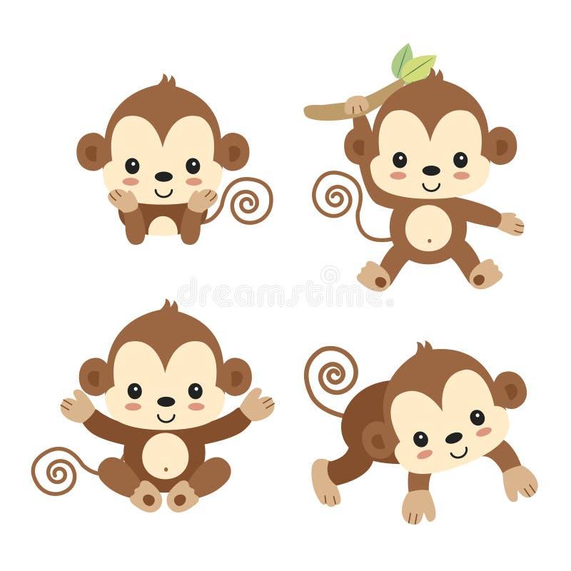 Немногое мультфильм обезьяны иллюстрация вектора