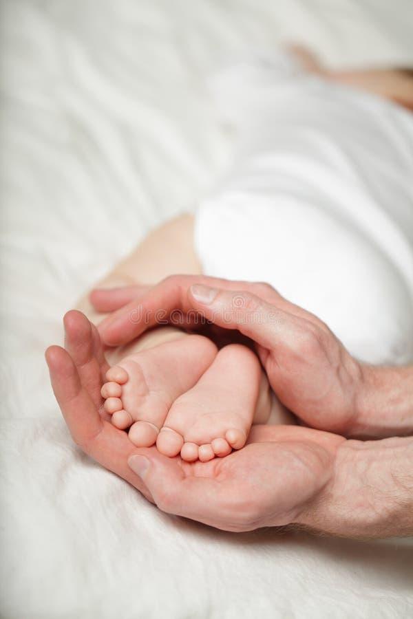 Немногое ноги младенца на руках родителя на белизне стоковое изображение rf