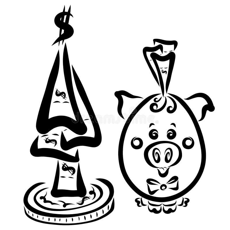 Немногое овальная свинья и богатство, праздник, Новый Год иллюстрация штока