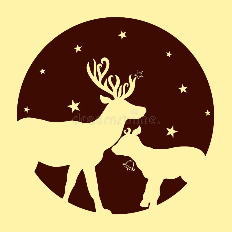 Немногое олени рядом с его отцом, луной и звездами иллюстрация штока