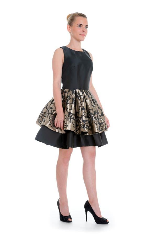 Немногое представлять фотомодели черного платья красивый стоковое фото