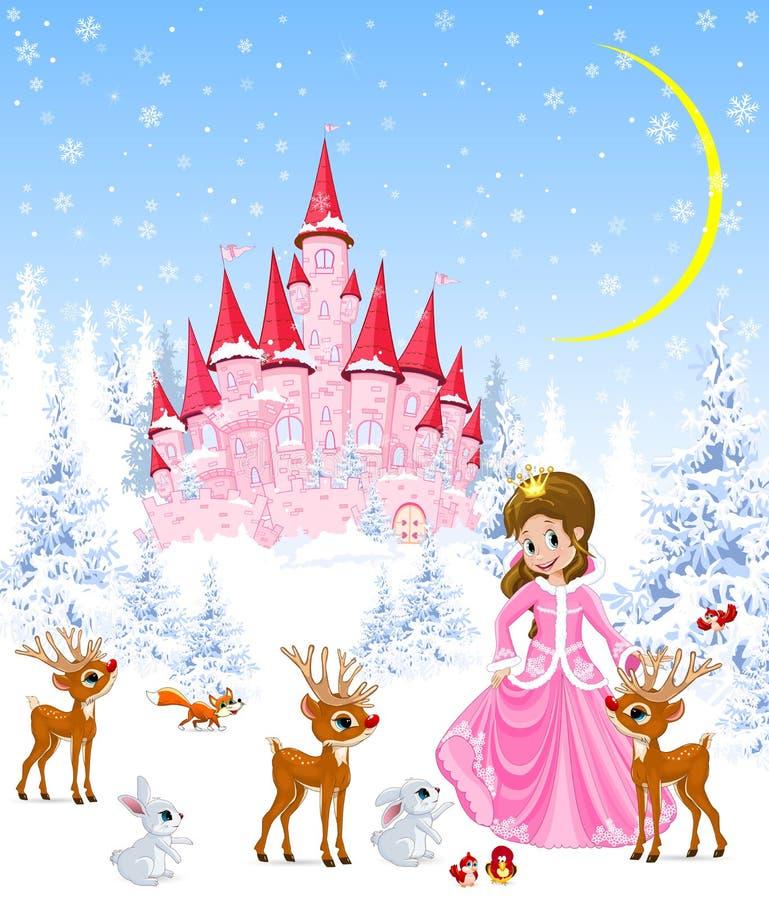 Немногое принцесса и олени, замок, зима, лес иллюстрация вектора