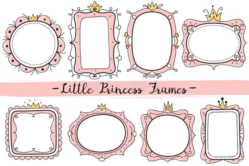 Немногое рамки принцессы Розовая милая рамка зеркал, карта приглашения дня рождения ребенка с вектором кроны руки вычерченным иллюстрация вектора