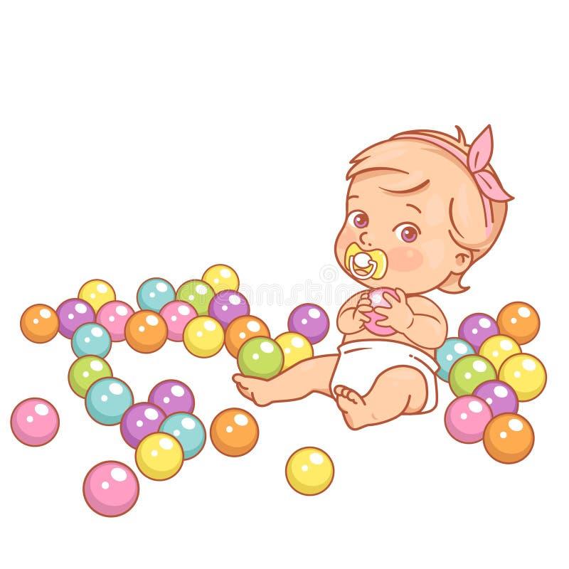 Немногое ребенок в шарике владением пеленки пластиковом иллюстрация вектора